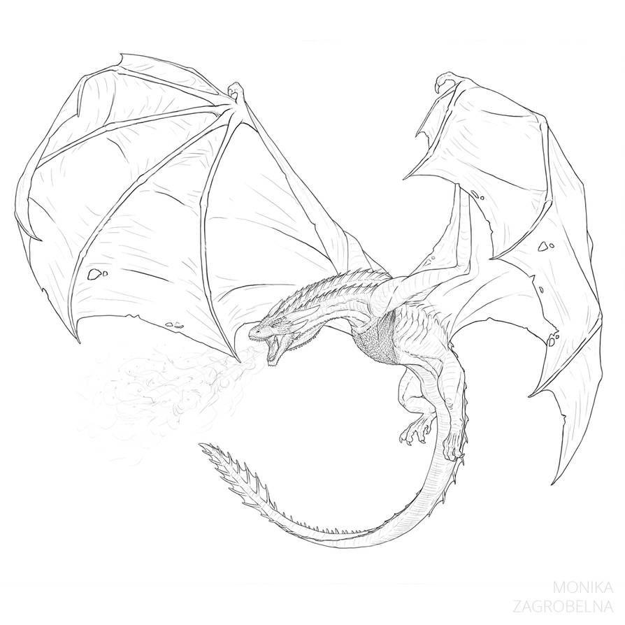 How To Draw An Ice Dragon From Game Of Thrones By Monikazagrobelna On Deviantart Drachen Zeichnen Drachen Skizze Drachen Illustration