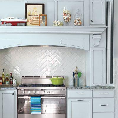 Cool Blue And A White Herringbone Backsplash Update A Classic Kitchen. |  Photo: Julian