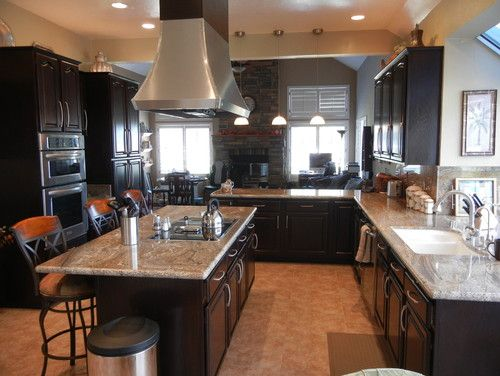 Kitchen Colors Ebony Black Cabinets Light Granite Tan Walls