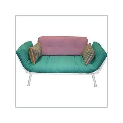 Cute White Futon Frame In Teal Pink And Candy