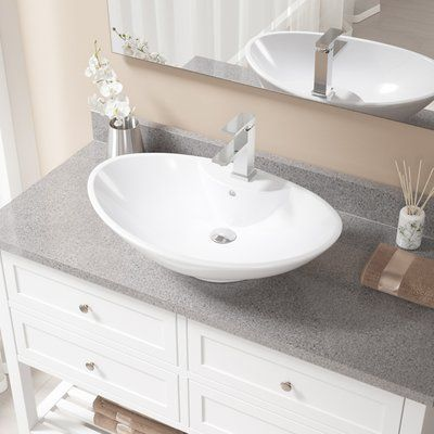 Mr Direct Vitreous China Oval Vessel Bathroom Sink With