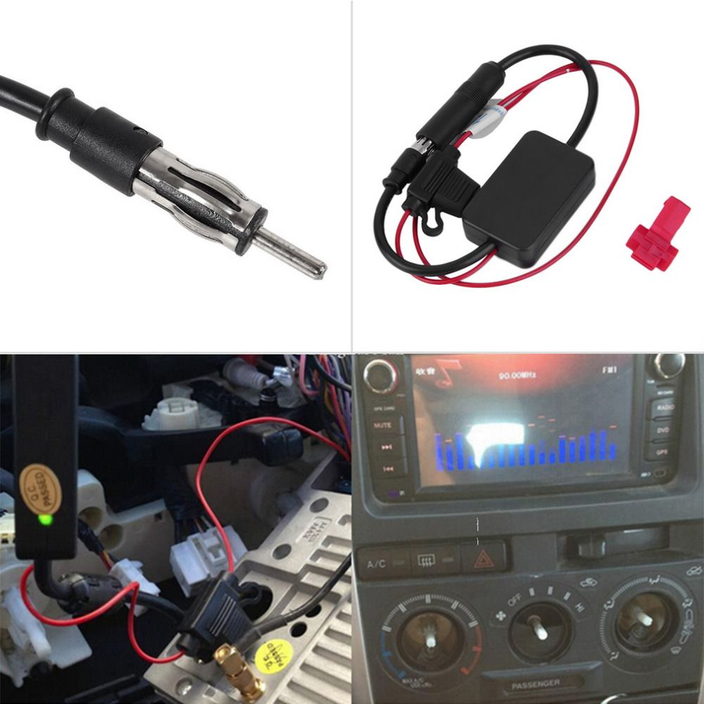Car Auto Hidden Antenna Radio AM FM Signal Amplifier Amplified Booster 12V