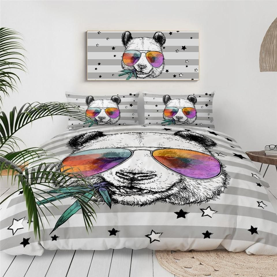 Funny Kid Panda 3 Pieces Quilted Comforter Set