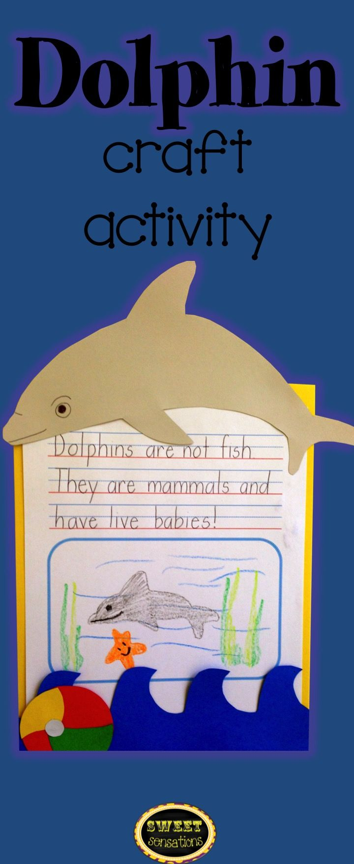 Cute craft activity to make to enhance any unit on dolphins, ocean animals  and the beach!