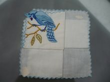 Vintage Applique Blue Jay Handkerchief