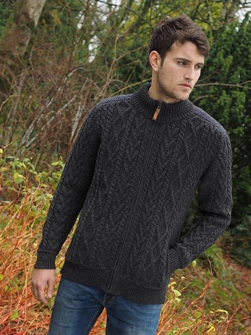 Aran Crafts Mens Cable Knit Full Zip Cardigan Aran Sweater
