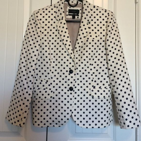 Very cute J Crew polka dot jacket Very cute J Crew polka dot jacket , navy and white, lined, linen, cute button detail, excellent condition J. Crew Jackets & Coats Blazers