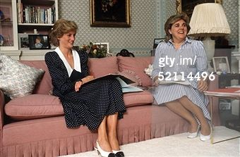 October 6, 1985: Princess Diana in her sitting room at home in Kensington Palace with her Lady-in-waiting Anne Beckwith-Smith