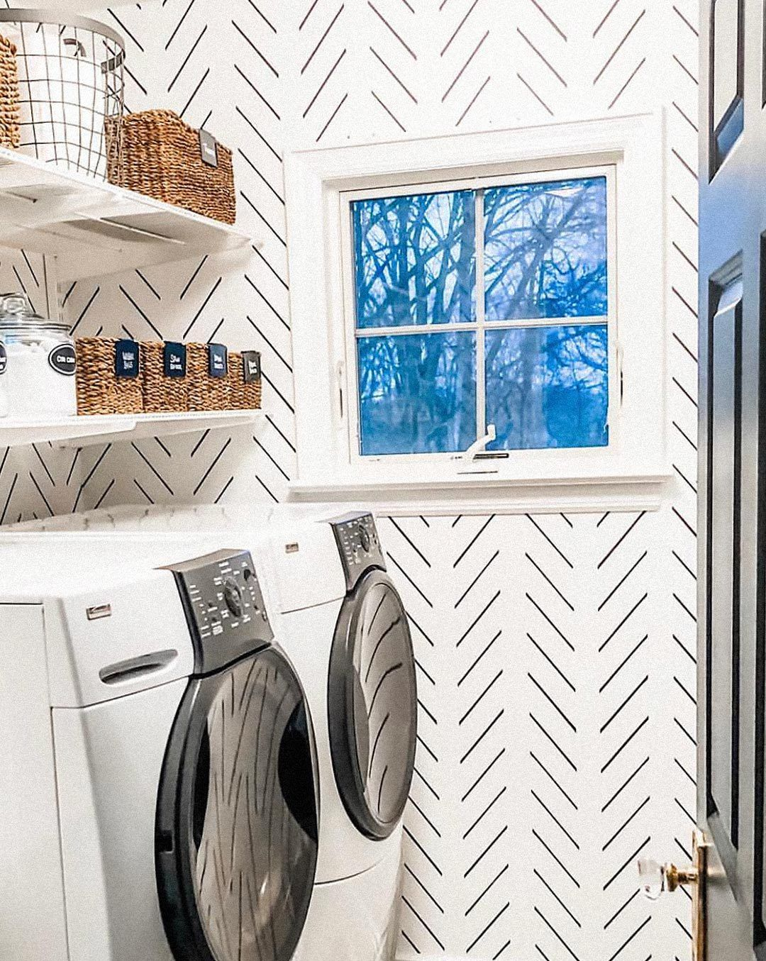 How To Decorate With Removable Wallpaper Modern Delicate Herringbone Design Closet Wallpaper Laundry Room Wallpaper Herringbone Wallpaper