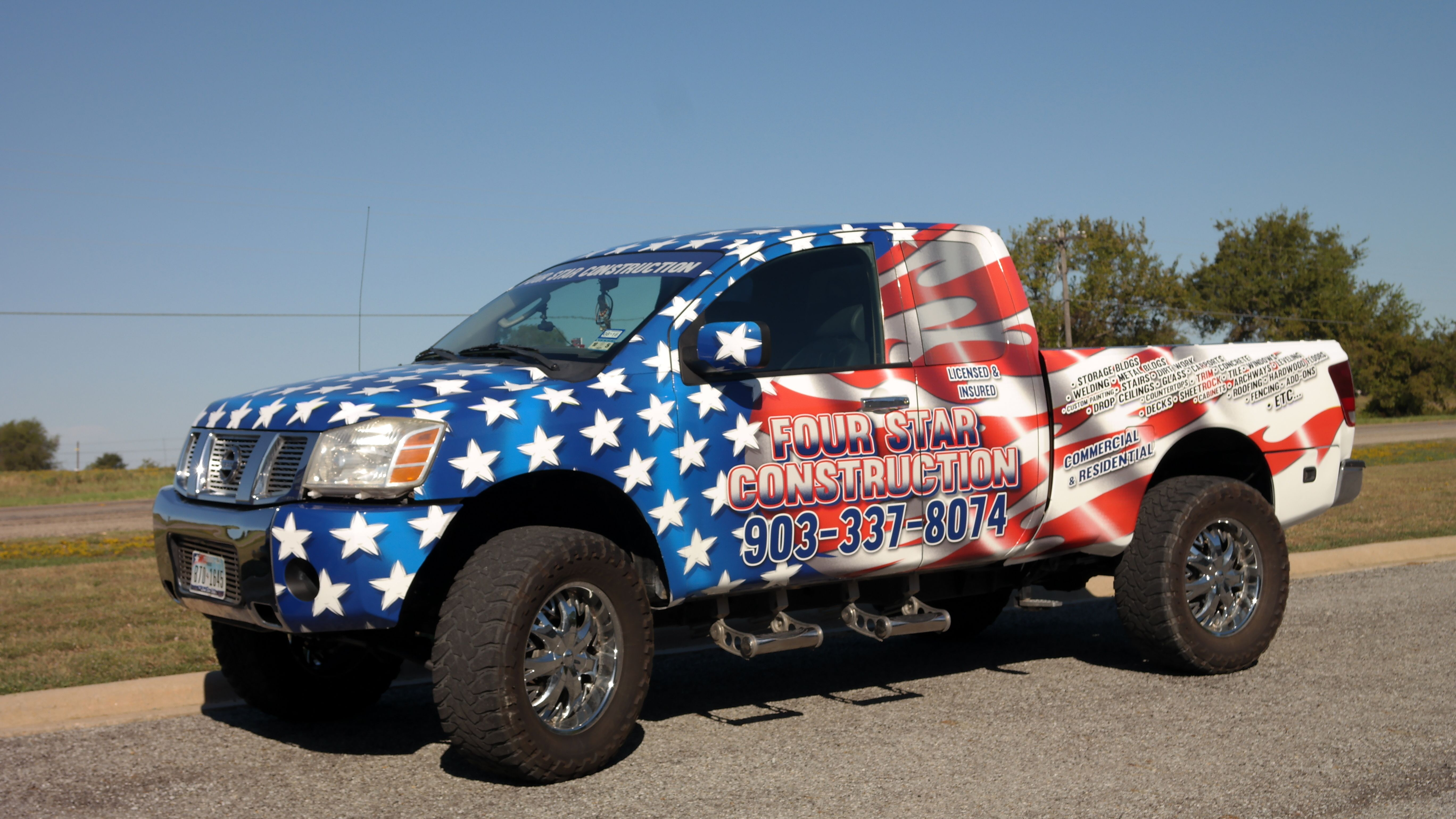 Patriotic full wrap on a Nissan Titan for Four Star