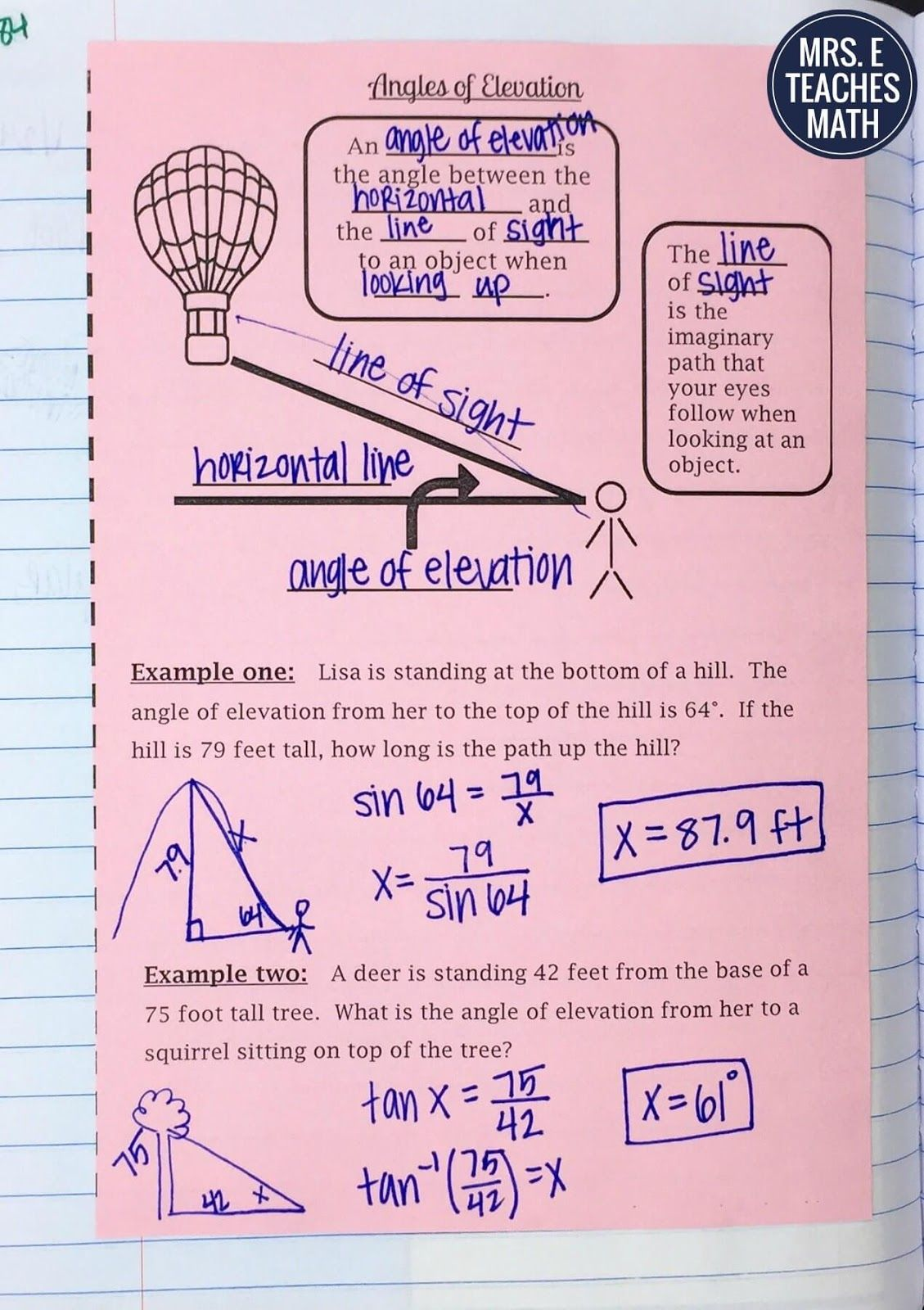 Trig Ratios 5 Jpg 1129 1600 Teaching Geometry High School Math Classroom Math Interactive Notebook