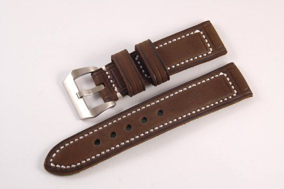 """Hand made Panerai strap.  Made from brown leather with white thread. ◄Size 24mm► Buckle side: 80mm 3,1"""" Hole side: 130mm 5,1"""" The distance between the holes: 10mm  Available in my shop. 55$ #paneraistrap #strap #watchstrap #panerai #handmade #leather #brown #klevlinleathergoods #panerai strapsforsale #paneraiwrist #paneraistrapuk #paneraistraps hongkong #paneraistrapsingapore"""