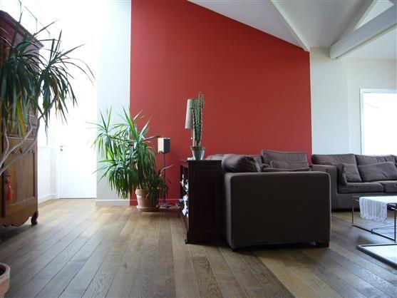 Un arrière plan rouge dans le salon avec la teinte T2121-1 Accent de