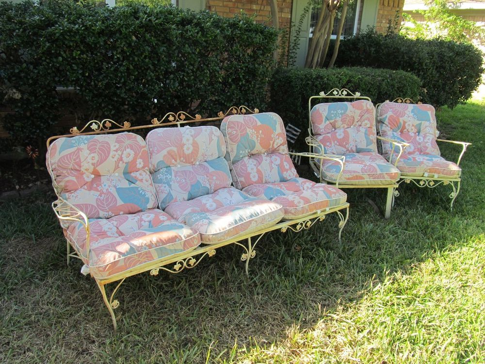 Vintage Wrought Iron Patio Furniture Couch~Chair~Rocker W/ Cushions