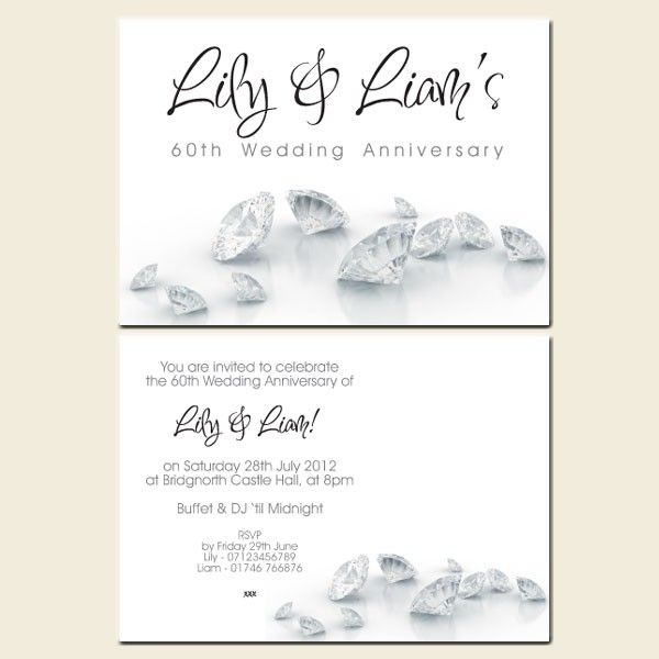 60th wedding anniversary invitations diamonds