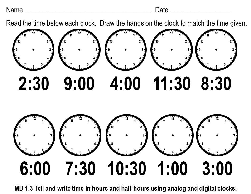 First Grade Telling Time Worksheets