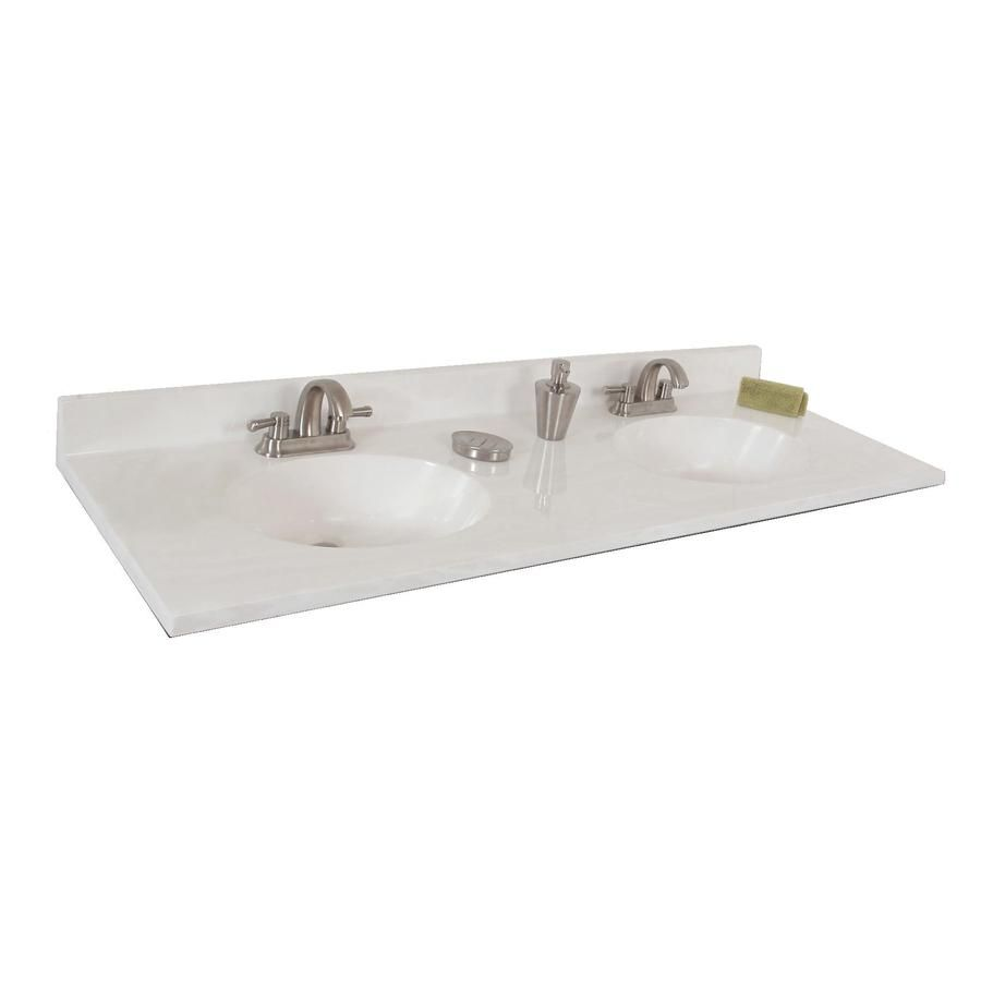 Style Selections Oval White On Cultured Marble Integral Double Sink Bathroom Vanity Top Common X Actual