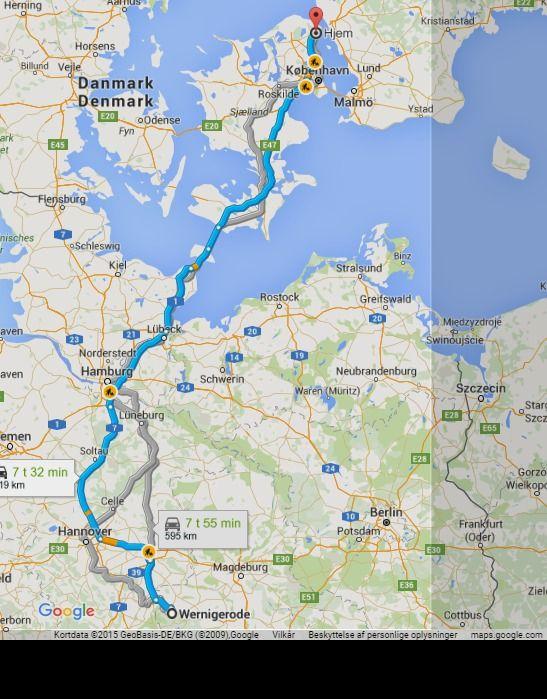 Wernigerode Til Espergaerde 619 Km 7 Time Google Maps