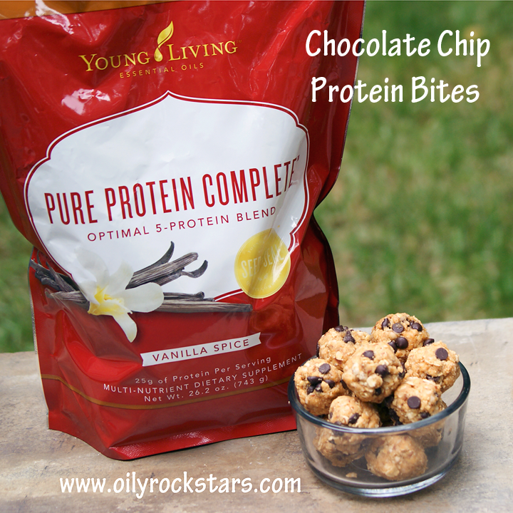 These Chocolate Chip Protein Bites ROCK!! Can you guess what my secret ingredient is? That would be Young Living's BRAND NEW Vanilla S...
