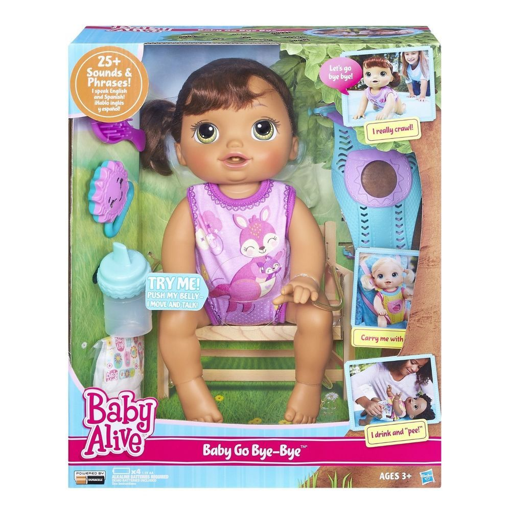Baby Alive Baby Go Bye Bye Brunette Doll Crawls Drinks