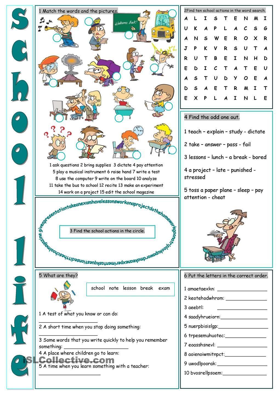 School Life Vocabulary Exercises | Хочу здесь побывать | Pinterest ...