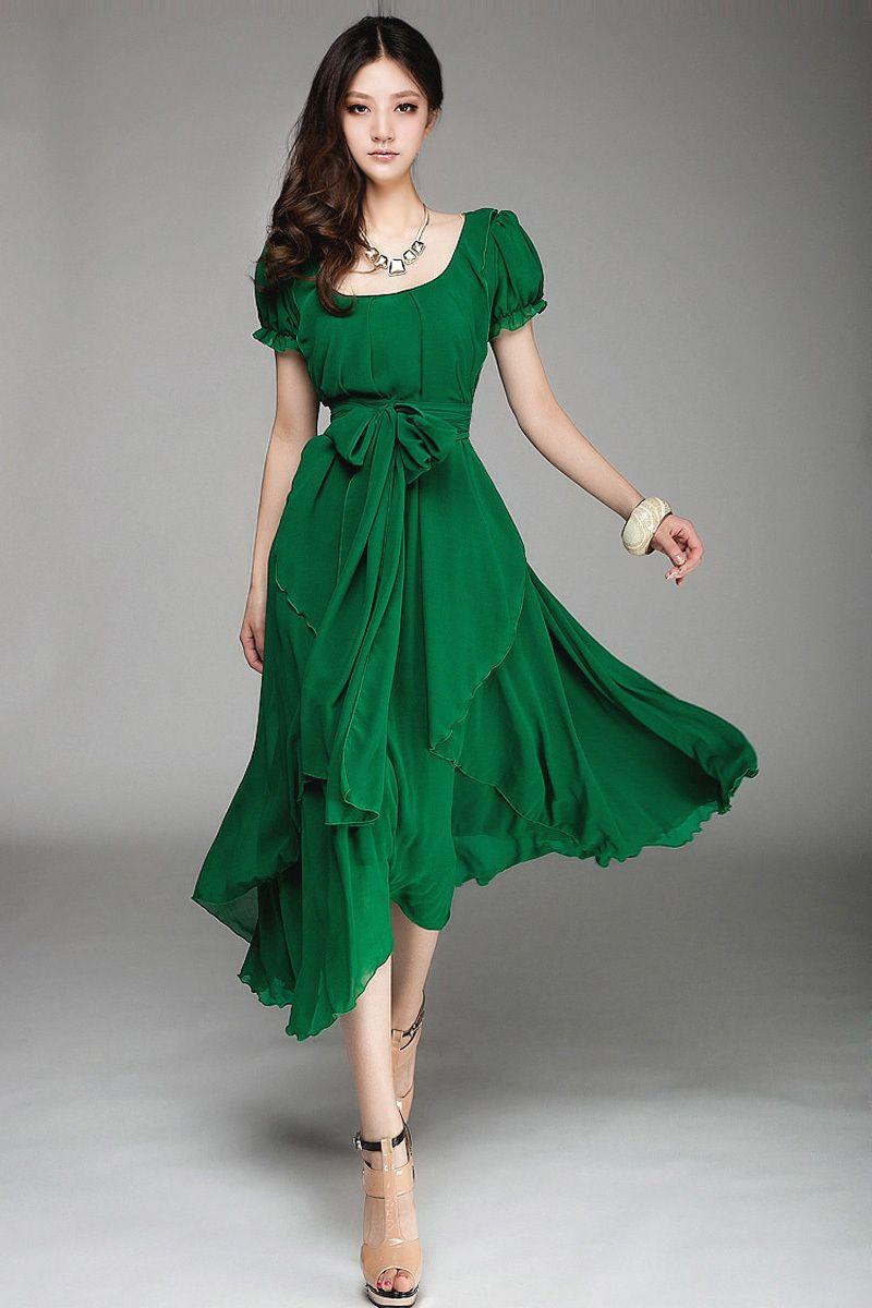 Femmes o cou manches bouffantes courtes en mousseline de for Plus la taille robes de mariage washington dc