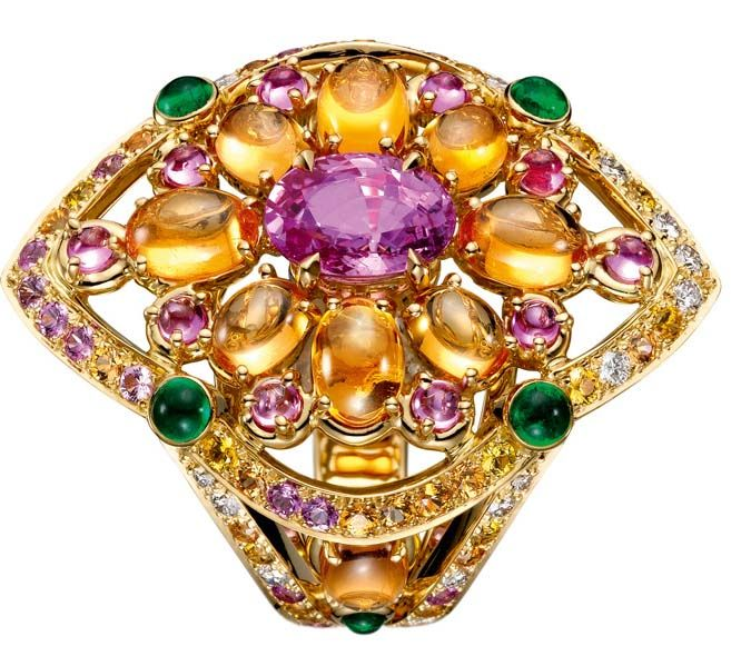 Boucheron Isola Bella ring set with pink oval sapphires, paved with orange, pink and yellow sapphires, and diamonds