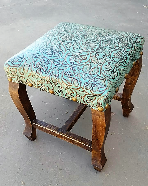 Small Tooled Leather Ottoman