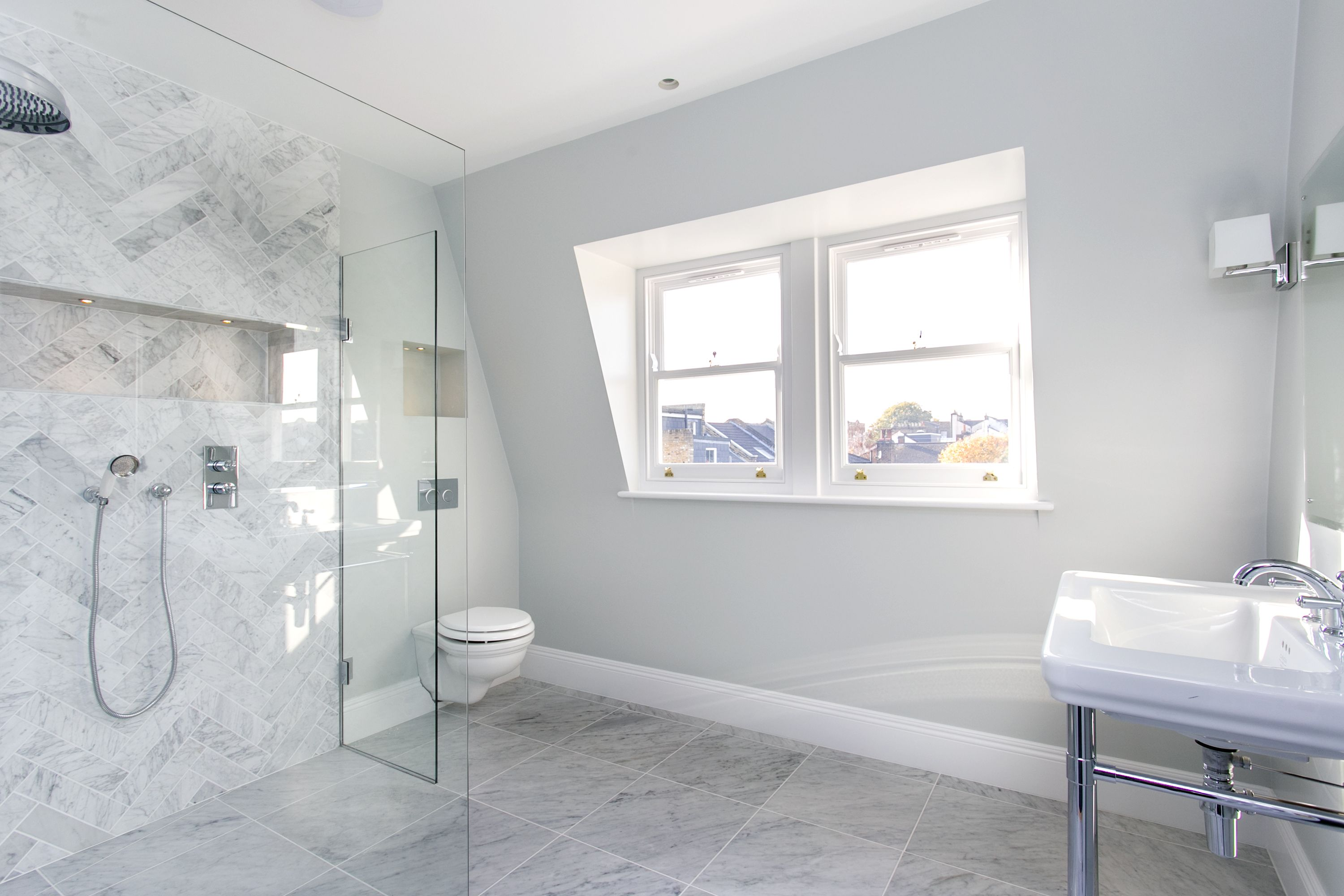 Herringbone Marble Shower Farrow And Ball Dimpse Walls Dimpse Small Bathroom Colors Farrow And Ball Bedroom