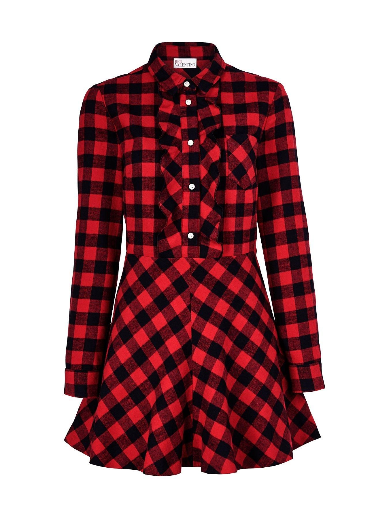 Redvalentino check ruffle front dress red veryexclusive