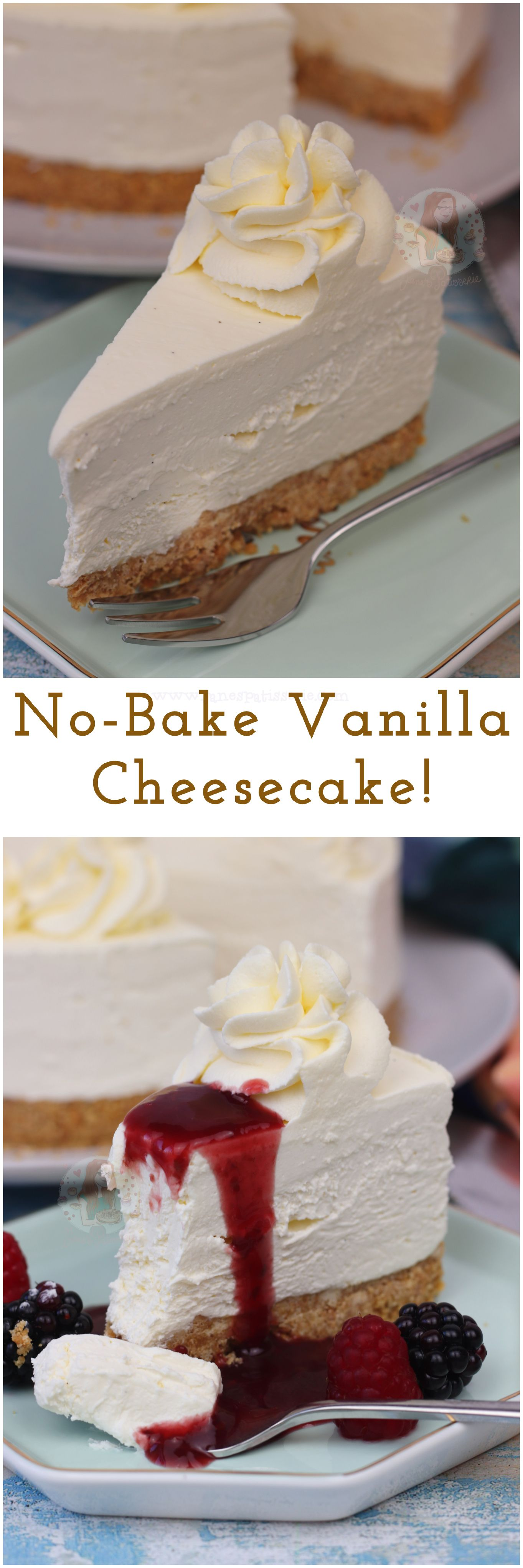 No-Bake Vanilla Cheesecake!! A Buttery Biscuit Base, Creamy No-Bake Vanilla Cheesecake Filling, and Whipped Cream on top! #cheesecake