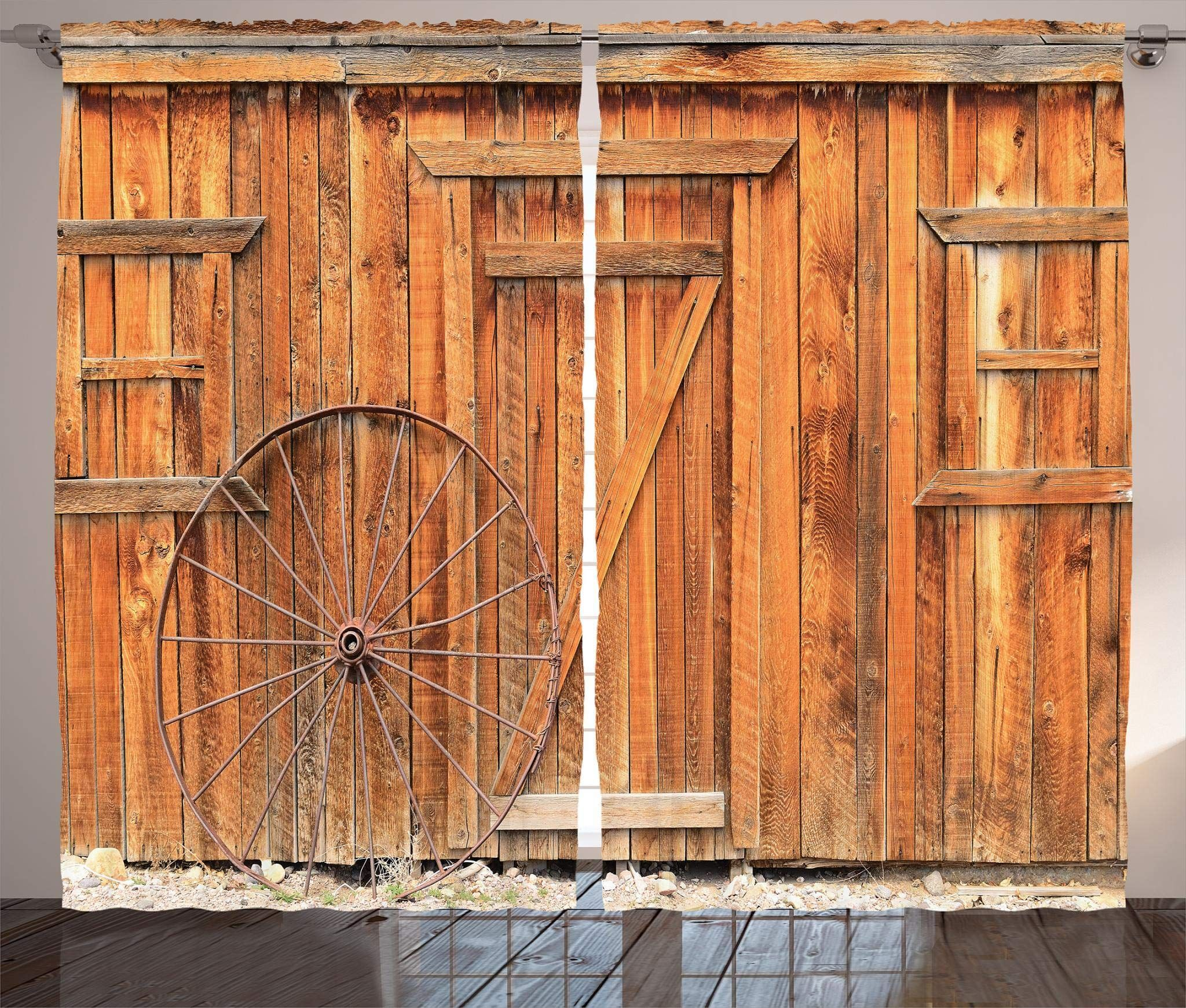 Photo of Ambesonne Western Curtains, West Rural Town Rustic Weathered Wooden Wall Door Wagon Wheel in …