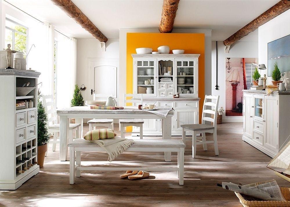 Esszimmer Landhaus Rafael 2 Landhausmöbel Weiß Holz Kiefer massiv - esszimmer weis landhaus