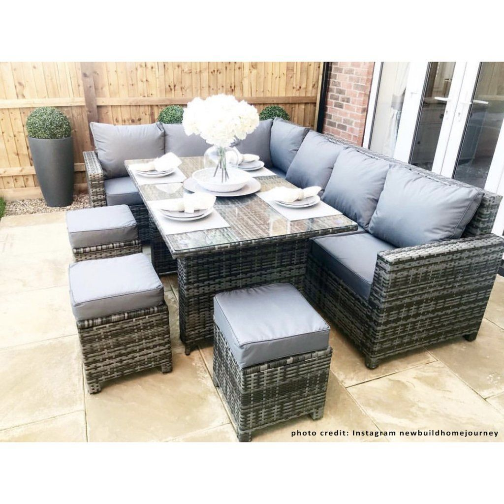 Denver Rattan Corner Sofa Casual Dining Set In Grey High Quality Uv Light Resistant And Weatherproof Rattan Outdoor Furniture In 2019 Rattan Corner Sofa C