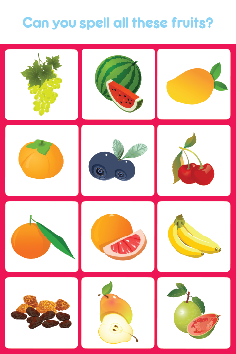 Kids Learn And Spell Fruits Not Only Helps Your Kids Learn Spellings But Also Helps Them Practice Spellings Of Fr Spelling For Kids Kids Learning Learning Apps