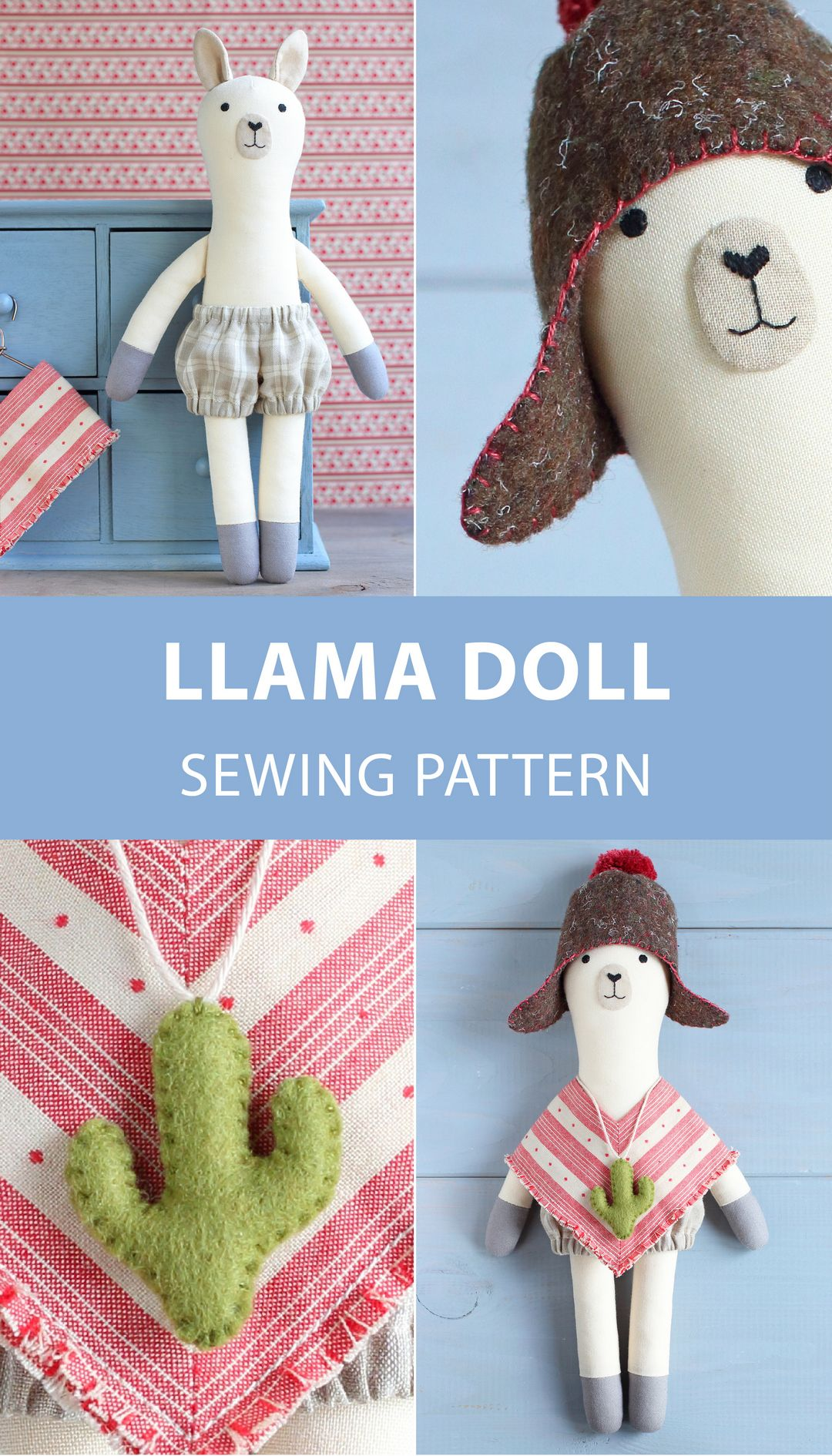 PDF Llama (Alpaca) Sewing Pattern & Tutorial — DIY Animal Rag Doll, Soft / Stuffed Toy, Llama Doll with Clothes, Nursery Decor #stuffedanimals