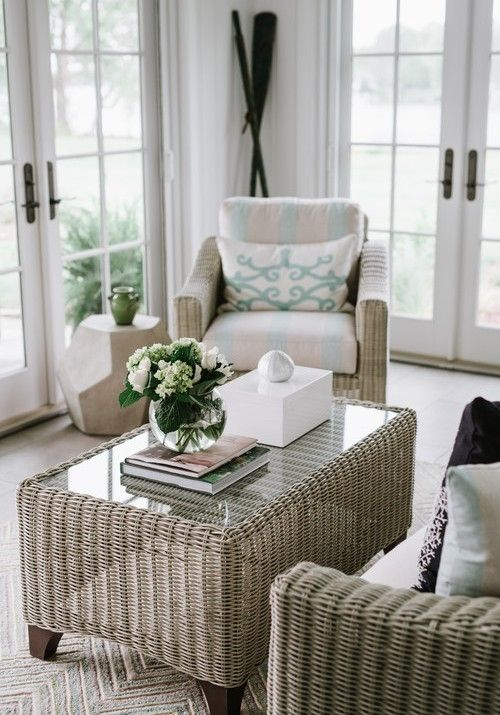 Choose a side chair in a bold color or an unexpected fabric, like velvet, to add dimension and warmth to your living room. Coastal Sun Room Ideas with Wicker/Rattan   Rattan ...