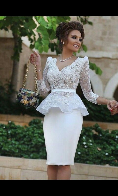 0ac2d5ca04 ... V-Neck Knee Length Beach White Dresses Peplum Bridal Gowns. Peplum and  lace sleeve