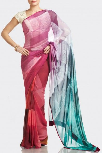 satya paul - Ombre Red & Blue Digital-Print Saree - Printed and Print Embellished - The Saree
