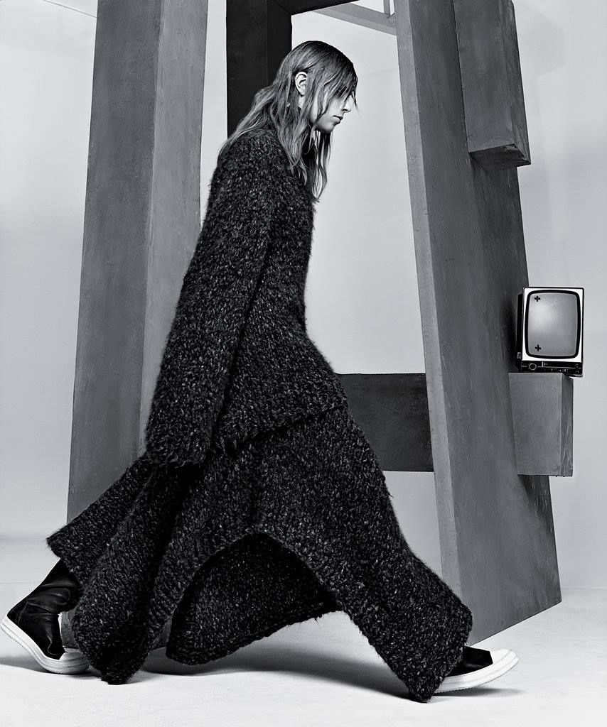 """The Big Easy"" by Craig McDean via nytimes.com, 2014, 6/8 Enveloping knits, dramatically long, loose and oversize, are fashion's generous solution to the practicalities of a life on the go. -- Text by T Magazine Photography by Craig McDean -- #TheRow sweater and cape, #RickOwens boots."