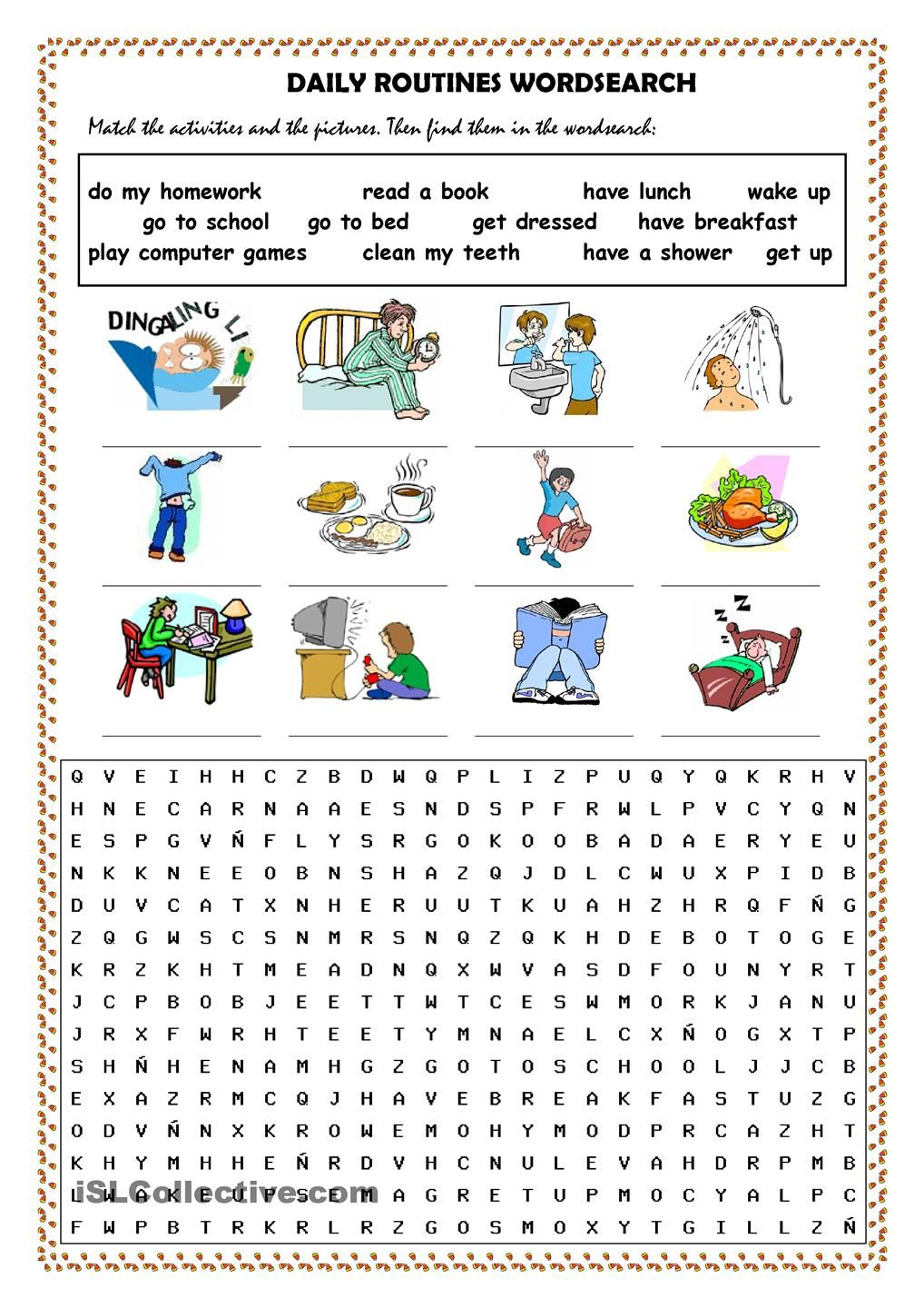 Daily routines picture dictionary and wordsearch