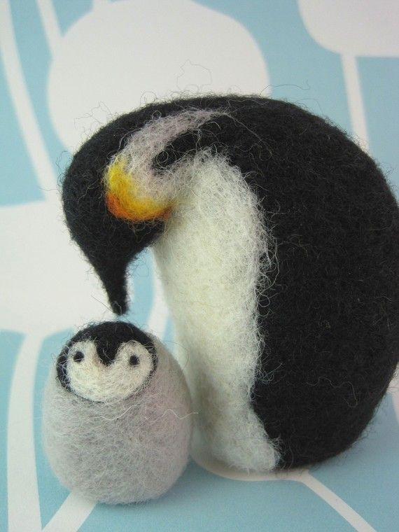 Mom and Chick Penguins Needle Felted Wool Sculptures #needlefeltedbunny