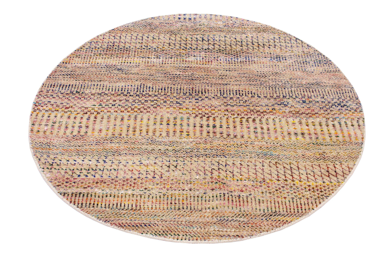 Round Hand Knotted Rug Handmade Round Oriental Rug Woolen Area