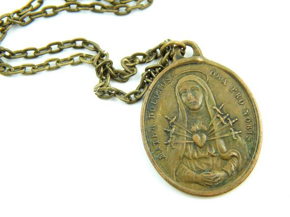 Rare Seven Sorrows Necklace  Antique Catholic by LuxMeaChristus