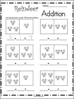 Reindeer Addition Math Worksheet Madebyteachers Christmas Math Worksheets Kindergarten Worksheets Christmas Math