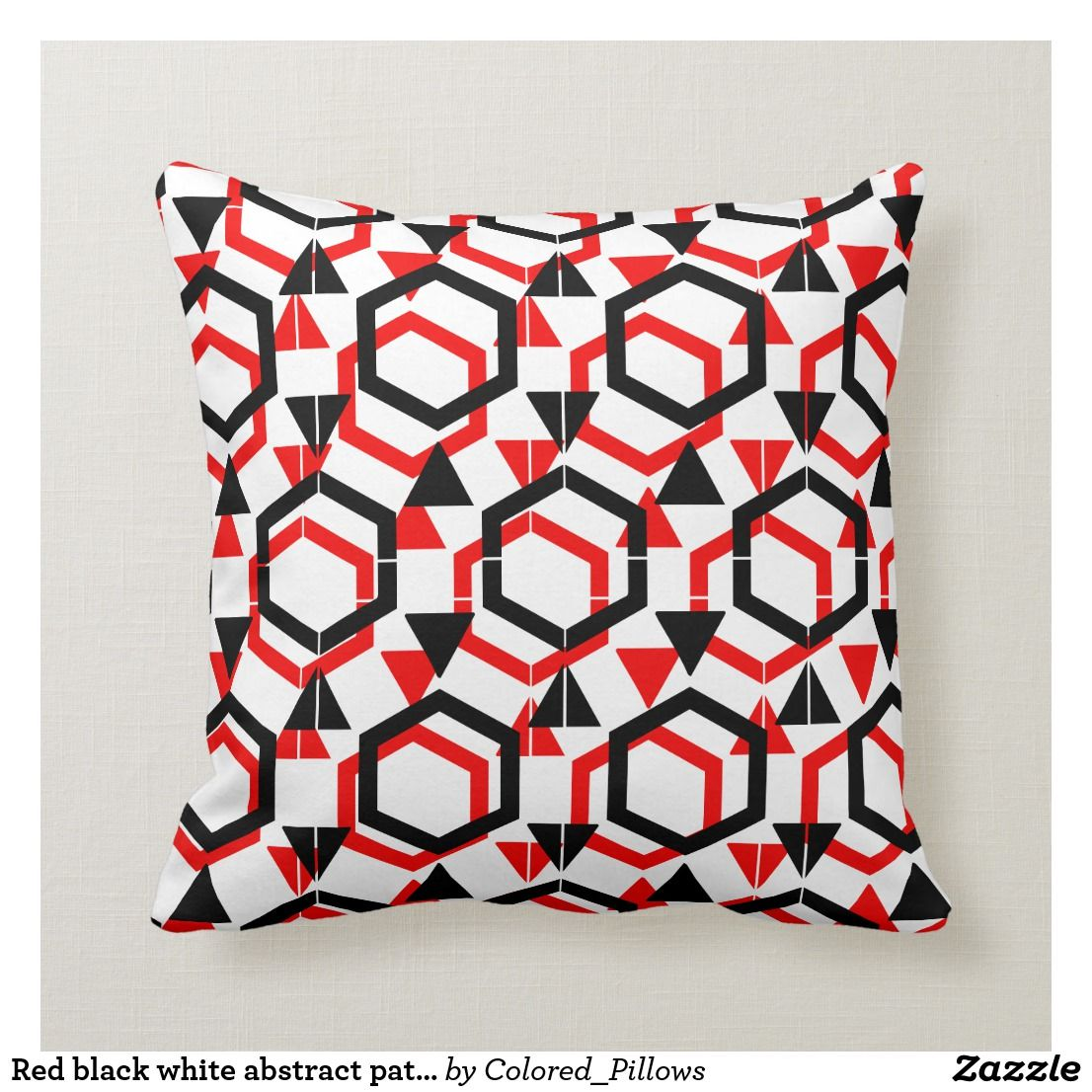 Red Black White Abstract Pattern Solid Back Throw Pillow Zazzle Com With Images Throw Pillows Black And Red Pillows