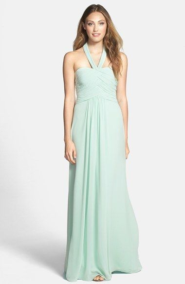 6805bb247ba79 ML Monique Lhuillier Bridesmaids Convertible Chiffon Halter Gown, seafoam bridesmaid  dress http://