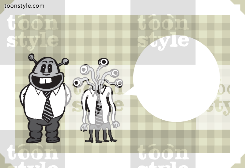 Greeting card with alien businessmen – personalize your card with a custom text
