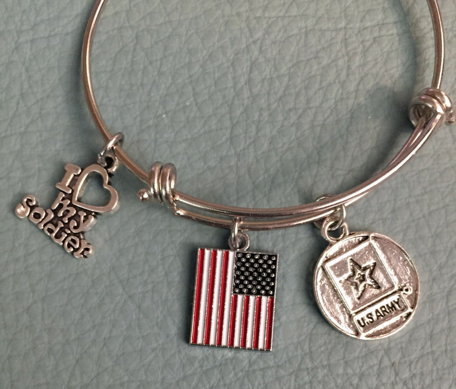 I Love My Soldier: Silver Tone Inspired By Charm Bracelet, Us Army,  American Flag, Patriotic, Army Mom, Army Wife  Military (3)
