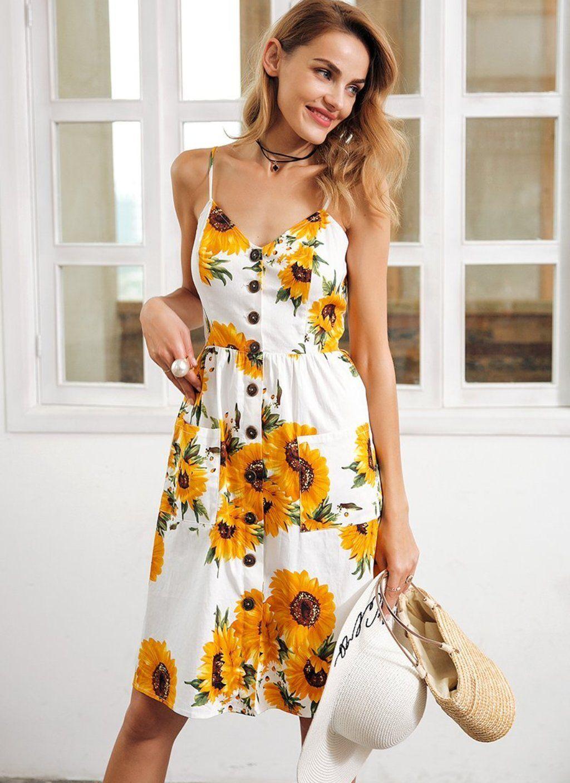 fde38ee8c940 Cotton Sunflower Summer Dress in 2019